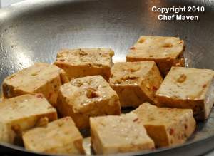 Marinated Tofu in the pan sauteeing
