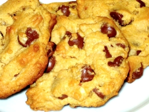 Homemade peanut butter cookies with milk chocolate morsels
